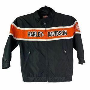 Harley Davidson Motorcycle Racing Jacket Kids Child Youth 5 Zip Up Windbreaker