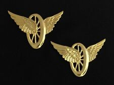 Motorcycle Wheel with Wings Insignia Metal Gold Finish (Pair)