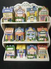 Vintage Avon Cozy Cottage House Spice Jars With Hanging Ivy Rack
