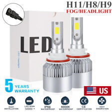 2x H11 Led Headlight H8 H9 1200W 168000Lm Cree Cob Bulbs High Beam Kit 6500K Hid