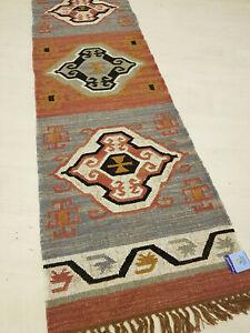 100% Wool Kilim Tribal rug 60x245cm Quality Hand Made runner Grey, Rust, Ivory