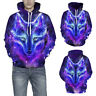 Space Galaxy Wolf 3D Print Women Men Hoodie Sweatshirt Hooded  Pullover Jacket H