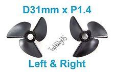 1set D31mm 3-Blades Left & Right P1.4 RC Boat Propellers, 4mm Shaft (US Seller)