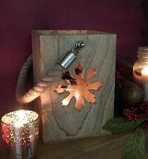 Large Wooden Scandinavian Shabby Chic Tea Light Candle Holder - Snowflake