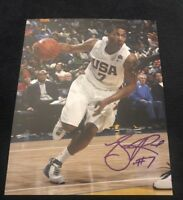 DERRICK ROSE SIGNED 8X10 PHOTO NYK TIMBERWOLVES NBA HS USA W/COA+PROOF RARE WOW