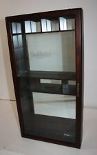 "Cherry Wood Wall Curio Cabinet Mirrored Back 12""W x 3""D x 23""H"