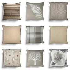 "Natural Cushion Covers Beige Cream Floral Check Throw Cushions Cover 17"" x 17"""