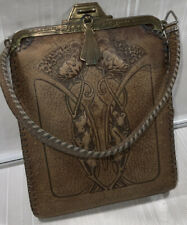 "Antique Bosca Nelson Product Tooled Leather Pouch Bag 5.5""WideX7.5""Tall X 1""deep"