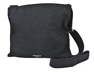 Authentic PRADA Black Nylon Shoulder Bag Purse #39567