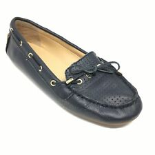Women's Talbots Loafers Flats Shoes Size 6.5 M Navy Leather Slip On Bow B5
