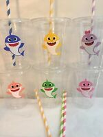 Baby Shark Party Cups Birthday Set of 12 With Lids Straws
