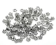 100pcs Tibetan silver flower shape bead caps smooth 6mm 5 petals