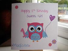 Handmade Personalised Girls Birthday Card Niece Daughter Goddaughter 1st 2nd 3rd