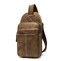 Brown Mens Genuine Cowhide Leather Chest Bag Vintage Style Small Messenger Bags