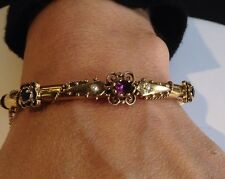 Stunning Victorian 14K Yellow Gold Amethyst And Pearl Antique Bangle Bracelet