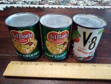 Del Monte Vintage Miniature Tin Toy Cans V-8, Fruit Cocktail Set of 3