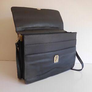 Satchel Shoulder Strap Holder Documents Man Business Black Vintage Design 20th