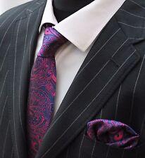 Tie Neck tie with Handkerchief Dark Blue & Shocking Pink Floral
