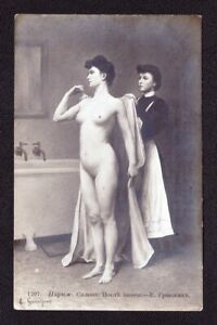 Old ANTIQUE Photo Postcard ARTISTIC POSE Pretty Sexy Naked Young Lady Model