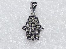 Marcasite Stone Small Fatima Hand 925 Sterling Silver Hamsa Pendant Necklace