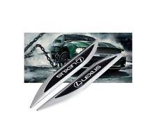 2 X Lexus Luxury Auto Car Body Chrome Fender Blade Badges Emblems Decal Sticker