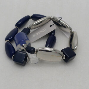 Chico's jewelry navy blue resin beaded stretch bangle double bracelet for women