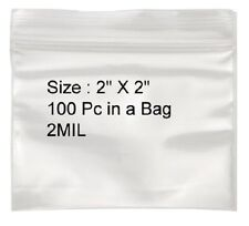 1000pc 2 X 2 2mil Reclosable Resealable Poly Clear Zip Bags Self Locking Zipper