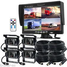 """7"""" Quad Monitor Splitscreen CCD 4PIN Reversing Camera Truck 4 Camera 12-24V Kit"""