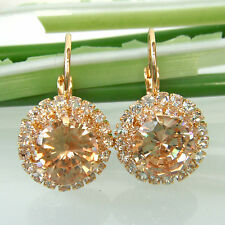Navachi Golden Zircon Topaz 18K GP Crystal Leverback Earrings BH2615