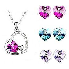 Parure argenté, cristal, strass transparent, coeur violet rose, bijoux fantaisie