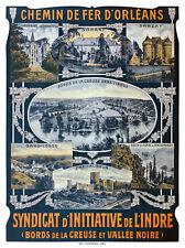 Affiche chemin de fer Orléans - Bords de la Creuse et Vallée Noire