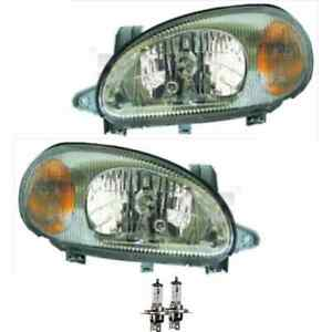 Headlight Set Right and Left Grey H4 for Daewoo Lanos Klat Incl. Osram Lamps