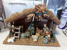 VINTAGE CHRISTMAS NATIVITY SET - PAST TIMES, WOOD STABLE, POLYRESIN FIGURES