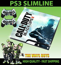 PLAYSTATION PS3 SLIM CALL OF DUTY BLACK OPS II LIGHT STICKER SKIN & 2 PAD SKINS