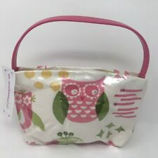 M Andonia Girls Mini Tote Purse White Pink Green Owl with Crystals NEW