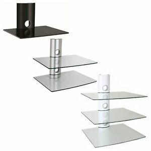NEG TV/AV Hifi-/Media-Wandregal Wandhalterung Glas-Rack weiß/schwarz/silber