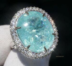 Paraiba Tourmaline Ring Diamond 14K Natural 21.92CTW GIA Certified RETAIL $34800