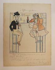 1900 Dessin original signé jeunes filles au bar humour publié dans le Frou-Frou
