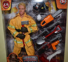 "2016 World Peacekeepers 12"" FIREFIGHTER ACTION FIGURE 1:6 New MOC Uniform Tools"