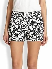 NWT- DVF Napoli Embroidered Floral Lace Print Shorts, Black/White - Size 2
