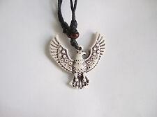 1 pcs Black Wax Cotton Cord Faux Yak Bone Carving Eagle Wings Pendant Necklace