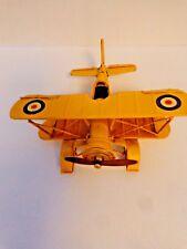 Vintage Metal Bi-Wing Yellow Airplane Model Decor