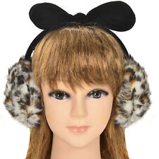 Unisex Winter Warm Women's Girls Plush Fluffy Bow Ear Warmers Earmuffs