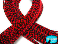 RED Thin Long Grizzly Rooster Feathers & Silicon Bead