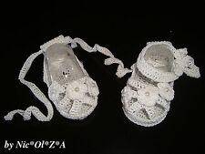 NEWBORN BABY GIRLS SHOES BOOTIES SANDALS HANDMADE CROCHET WHITE idea 0 -3 months