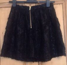 Topshop Black Fluffy Sparkly lace High Waisted Mini Skirt 6