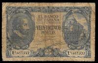 World Paper Money - Spain 25 Pesetas 1940 P116 @ VG Cond