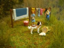 H0 Diorama HO 1:87 Groß-Wäschetag zum Bauernhof Wiese Preiser Handarbeit