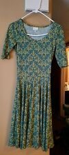 LULAROE Nicole Dress WOMENS SZ XXS Yellow TEAL BLUE Abstract Chevron NWOT NEW