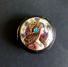 Antique Art Nouveau Sterling Silver Jeweled Guilloche Enamel Byzantine Pill Box